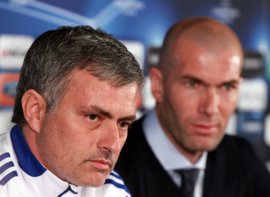 Mourinho and Zidane at Real Madrid back in 2011.