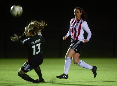 Sophie Jones (r) after scoring a goal in December.