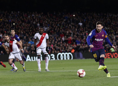 Messi converts from the penalty spot for Barcelona.