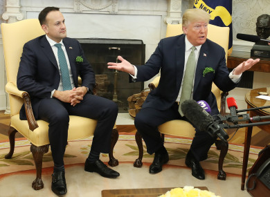 US President Donald Trump as he meets Irish Taoiseach Leo Varadkar in the Oval Office of the White House last year.