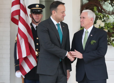 Taoiseach Leo Varadkar with US Vice President Mike Pence last year.