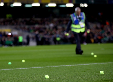 Tennis balls on the Aviva Stadium pitch during the Euro 2020 qualifier between Republic of Ireland and Georgia.