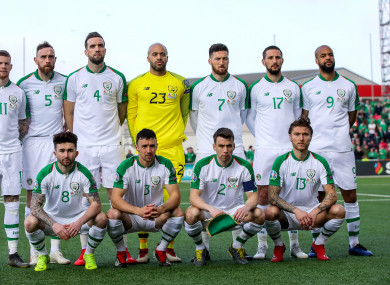 The Ireland team pictured before the Gibraltar match.