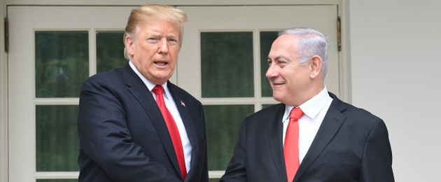 Donald Trump and Benjamin Netanyahu outside the Oval Office.