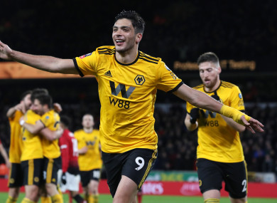 Raul Jimenez celebrates giving Wolves the lead.