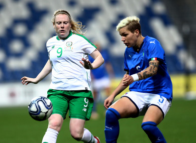 Ireland international Amber Barrett in action against Italy earlier this month.