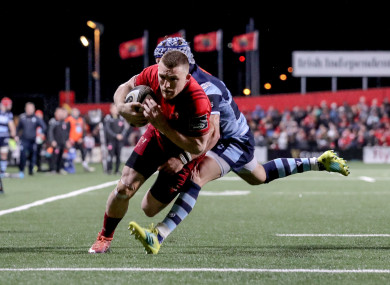 Andrew Conway slides in for Munster's fifth try.