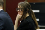 Anna Sorokin sits at the defence table during jury deliberations in her trial