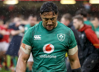 Bundee Aki walks off the field after Ireland's loss to Wales last month.