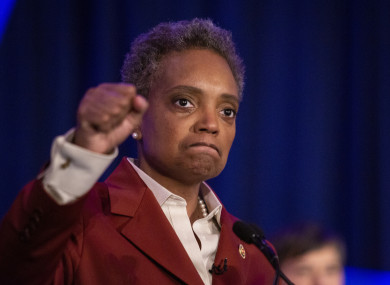 Lightfoot celebrates at her election night rally at the Hilton Chicago after defeating Toni Preckwinkle, 2 April 2019.