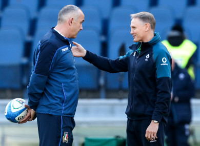 Conor O'Shea and Joe Schmidt before February's Six Nations clash in Rome.