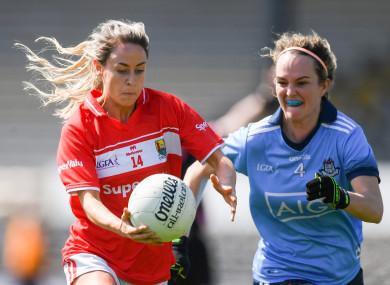 Orla Finn of Cork competing against Rachel Ruddy of Dublin.