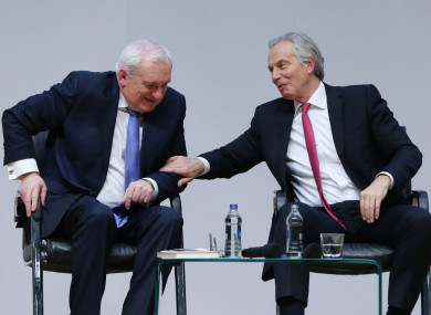 Former taoiseach Bertie Ahern and former Prime Minister Tony Blair at an event to mark the 20th anniversary of the Good Friday Agreement, at Queen's University in Belfast.