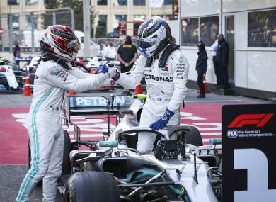 Lewis Hamilton congratulates Valtteri Bottas.