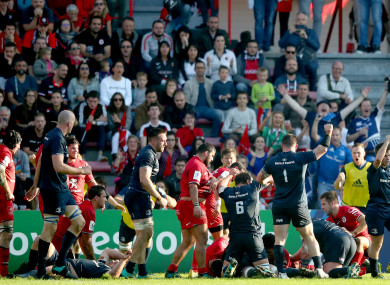 Leinster players celebrating a James Ryan try against Toulouse last October.