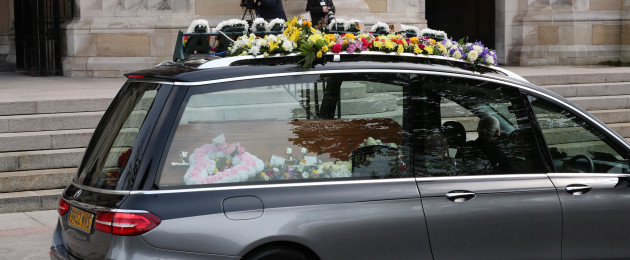 The hearse carrying the body of murdered journalist Lyra McKee arrives at St Anne's Cathedral in Belfast