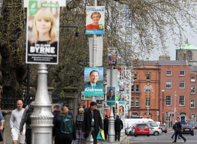 Election posters on lamp posts in Dublin City centre yesterday