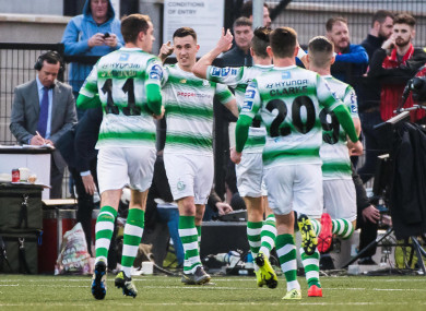 Aaron Greene celebrates after scoring for Shamrock Rovers.