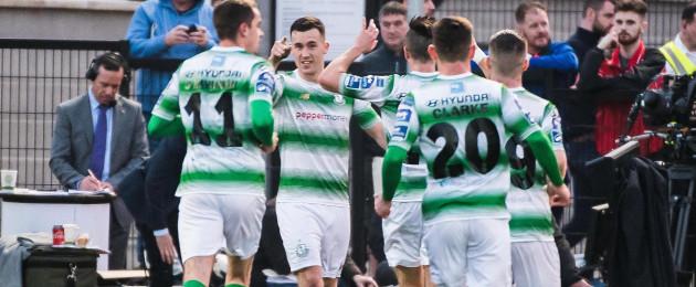 Aaron Greene celebrates after scoring for Shamrock Rovers.