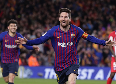Messi scored his 43rd goal in all competitions on Saturday.