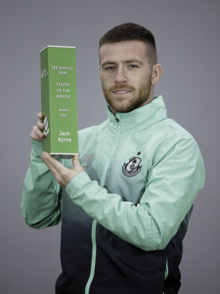 Shamrock Rovers star Jack Byrne with his Player of the Month award.
