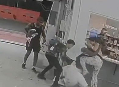 Stevenson is seen to repeatedly strike a man on the ground during the incident, which a police report states was caused when he and a friend passed remark to a group of people -- including women -- in a parking garage.
