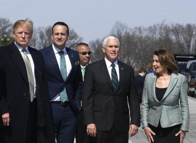 President Donald Trump with Leo Varadkar, US Vice President Mike Pence and House Speaker Nancy Pelosi.