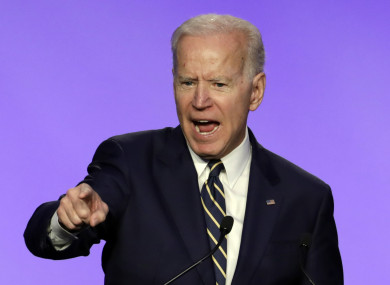 Biden at the International Brotherhood of Electrical Workers construction and maintenance conference in Washington, DC.