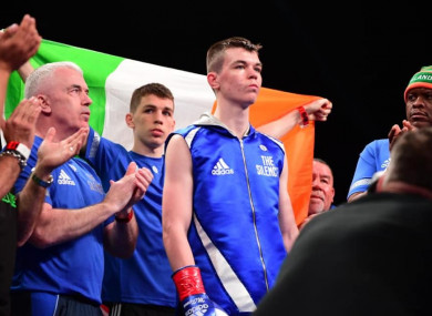 Aaron McKenna with his father Fergal (L), brother Stephen (C) and trainer Courage Tshabalala (R).