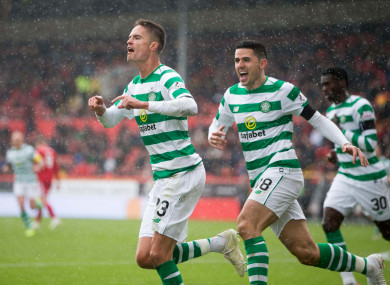 Champions again: Celtic celebrate a goal.
