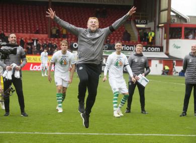 Neil Lennon celebrates Celtic's title success on Saturday.