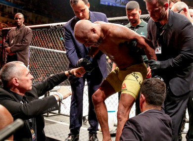Anderson Silva leaves the octagon after his UFC 237 loss.