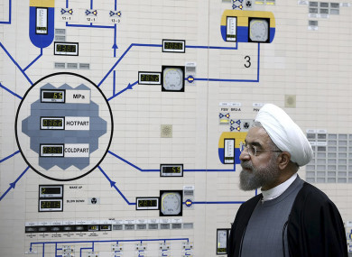 President Hassan Rouhani visiting the Bushehr nuclear power plant just outside of Bushehr, Iran.
