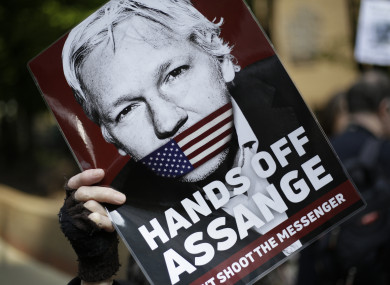 Protesters outside court as Julian Assange was sentenced yesterday