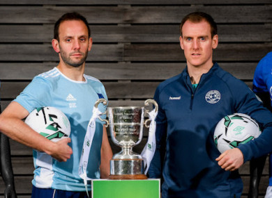 Avondale United's David Kiely (left) and Thomas Hyland of Crumlin United with the trophy this week.