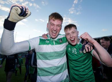 Limerick goalkeeper Donal O'Sullivan celebrates victory with team-mate Padraig De Brún.
