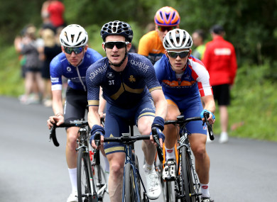 Eddie Dunbar (centre) will take part in his first Grand Tour this weekend.