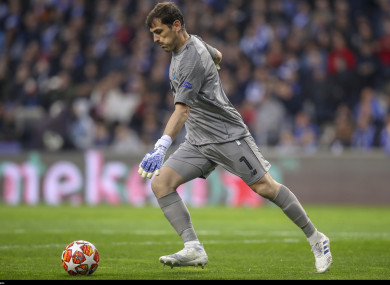 Casillas in action for Porto during their Champions quarter-final tie against Liverpool.