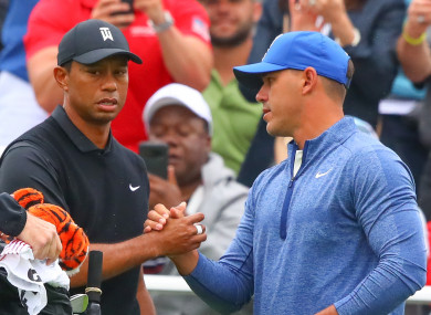 Tiger Woods and Brooks Koepka at the PGA Championship.