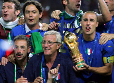 Lippi and Cannavaro with the World Cup in 2006.