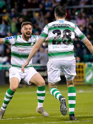 Shamrock Rovers' Joey O'Brien celebrates scoring a goal with Greg Bolger.