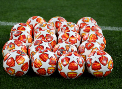 Champions League matchday footballs.