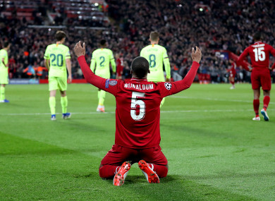Georginio Wijnaldum celebrates after his side beat Barcelona in the Champions League semi-final.