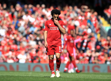 Mo Salah shows his disappointment.