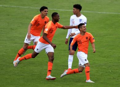 Naci Unuvar celebrates scoring the Netherlands' fifth goal at Tolka Park.