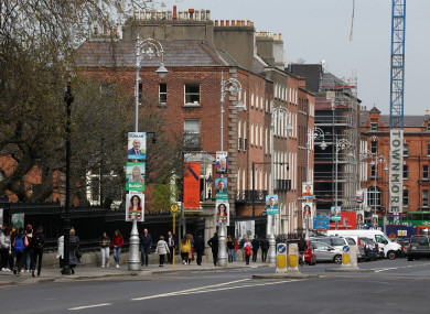 European Election posters on lamp posts in Dublin.
