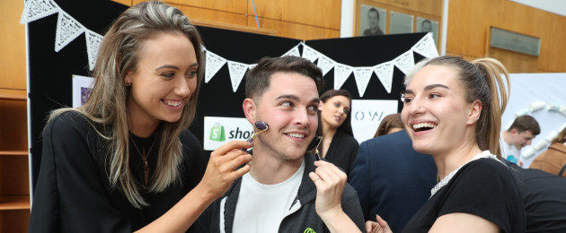 Gary Mullen of Shopify with Ellen Doherty and Shauna Cannon of Glow, a business set up as part of the National College of Ireland.