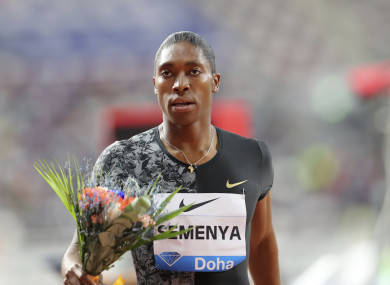 South Africa's Caster Semenya celebrates after winning the gold in the women's 800-meter final during the Diamond League in Doha, Qatar.