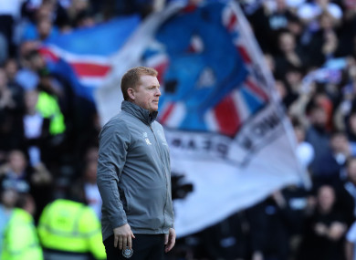 Celtic manager Neil Lennon during the Ladbrokes Scottish Premiership match at Ibrox Stadium.