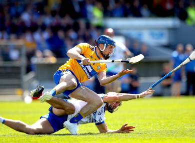 Shane O'Donnell and Shane Fives battle for the ball.